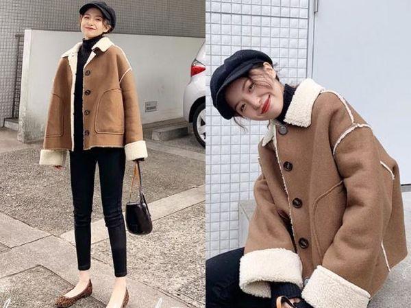 羊羔绒外套穿搭,羊羔绒外套穿搭,可爱女生必备!